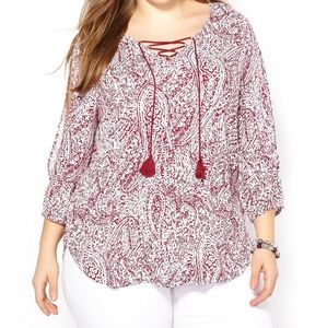 Penningtons | 3/4 Sleeve Printed Lace Up Blouse